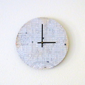 Modern Wall Clock, Decor and Housewares, Map Decor, Home and Living, Home Decor, Unique Clock, Unique Gift