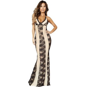 Sexy Milan Maxi Two-Tone Gown Dress