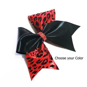 Red cheer bow, cheer bow, leopard cheer bow, cheetah cheer bow, cheerleader bow, cheerleading bow, cheer bows, softball bow, dance bow, bow