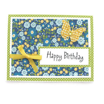 Happy Birthday Flower Card, Butterfly, Blue Yellow and Green
