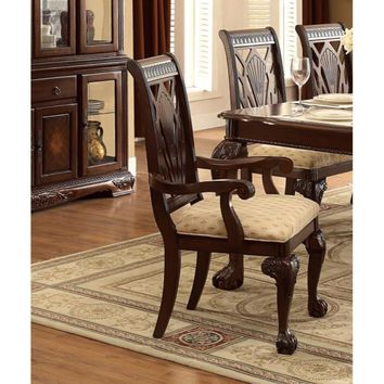 Traditional Style Wooden-Fabric Dining Arm Chair With Carved Details, Brown & Cream, Set of 2