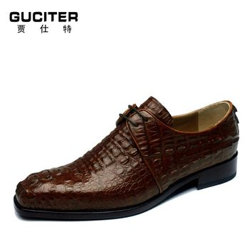 FreItalian goodyear craft luxury mens alligator skin shoes handmade for man made-to-order crocodile backside customized Shoes