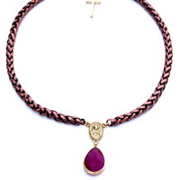 Ruby Jade Drop Rosary Necklace