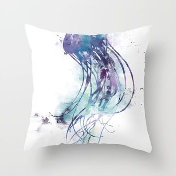 Jellyfish Throw Pillow by monnprint