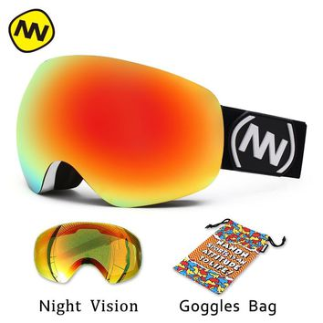 NANDN brand ski goggles  Double Lens Large spherical UV400 Anti-fog Adult Snowboard Skiing Glasses Women Men Snow Eyewear