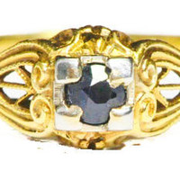 Vintage Yellow Gold Sapphire Ring by Bellman Jewelers