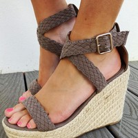 Feet In The Air Wedges: Taupe