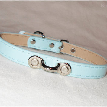 Baby Blue Faux Leather Submissive Collar with Coachman Loop