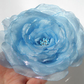 Light Blue Wedding Style Rose Pin Or Hair Clip