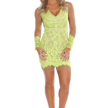 For The Love Of Lace Dress Lime