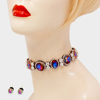 "12"" crystal choker collar necklace .25"" earrings .90"" wide"