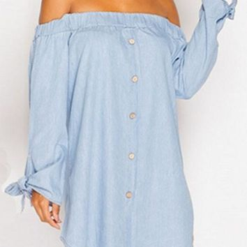 Streetstyle  Casual Light Blue Bow Pleated Boat Neck Off Shoulder Button Denim Look Shirt Fashion Mini Dress