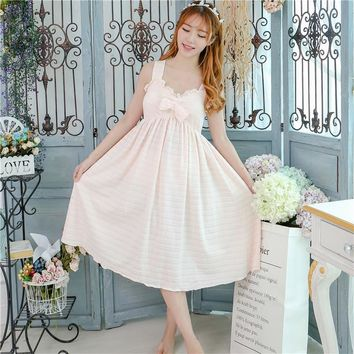 Princess sweet lolita Court style Nightgowns Sleepshirts pure cotton V-neck Retro hollow Lace Crochet Home wear Suit QQ052