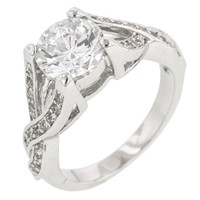 Brilliant Twist  Rhodium Plated Engagement Ring