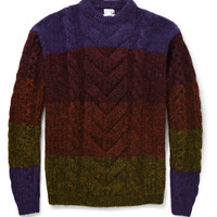 Paul Smith Striped Cable-Knit Sweater   MR PORTER
