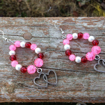 Beaded dangle hoop heart earrings - red and pink earrings - heart jewelry - Valentine's Day gifts - Gifts for her- Valentines Day - Girls