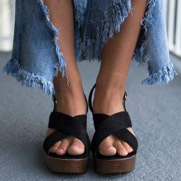 Our Time Black Open Toe Heels