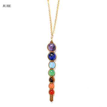 Sparkling Crystal Yoga Chakras Necklaces Pendants ~Nature Stone 7 Chakra Pendants Necklaces crystal