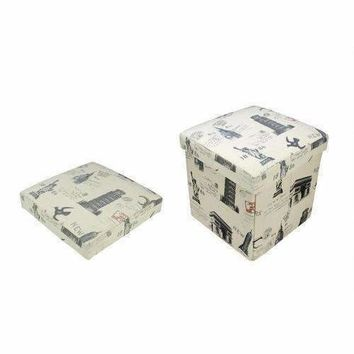"""12"""" Decorative Vintage-Style New York Travel Inspired Collapsible Sqaure Storage Ottoman"""