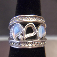 Chunky Opalite Band Ring Iridescent Boho Jewelry Fashion Accessories For Her