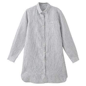 Women French Linen Shirt Dress