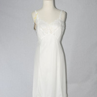 Vintage 1950s White Full Slip Dress Lace Nightgown 34 Serene Highness by Aristocraft Deadstock w Original Tags!