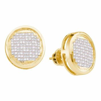 14kt Yellow Gold Women's Princess Diamond Circle Cluster Stud Earrings 1.00 Cttw - FREE Shipping (US/CAN)