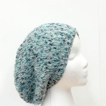 Slouch hat teal aqua multicolor hand knitted  5198