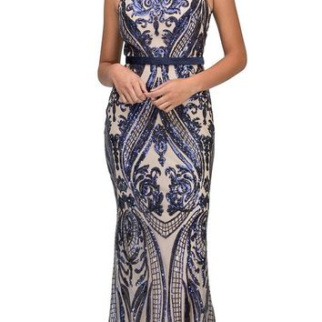 Sequins Mermaid Evening Gown with Satin Belt Navy Blue