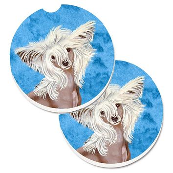 Blue Chinese Crested Set of 2 Cup Holder Car Coasters LH9392BUCARC