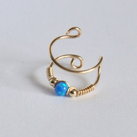 DOUBLE EAR CUFF, Ear Cuff, Opal Ear Cuff, Fake Piercing, No Piercing, Double Cuff, Cartilage Cuff, Cuff