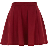 dark red ponti skater skirt