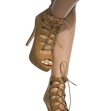 Tan Faux Leather Open Toe Lace Up Heels @ Cicihot Heel Shoes online store sales:Stiletto Heel Shoes,High Heel Pumps,Womens High Heel Shoes,Prom Shoes,Summer Shoes,Spring Shoes,Spool Heel,Womens Dress Shoes