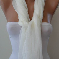 Creamy White Scarf - Tulle Fabric - Seamless Shawl