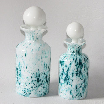 Pair Milk Glass Cologne Bottles with Glass Stoppers, Handblown Perfume Bottle