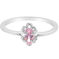 Rhodium Plated Oval Pink Crystal Crystal Princess Teens Girl Children's Ring