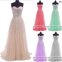 Long Wedding Prom Ball Gown Formal Evening Party Dress Military Ball Gown {Free Shipping}