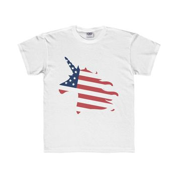 American Unicorn Youth Shirt, 4th of July, Kids Shirt