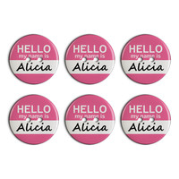 Alicia Hello My Name Is Plastic Resin Button Set of 6