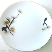 OZONE CHINA PORCELAIN DESSERT PLATES Mid Century Modern Japan Hand Painted Pine
