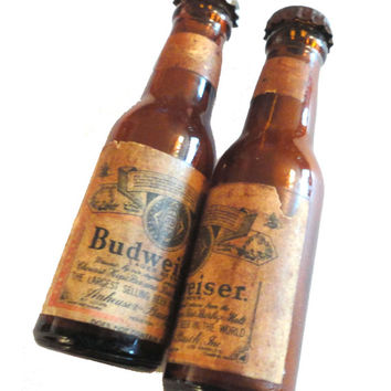 vintage salt and pepper BUDWEISER BEER Bottle shaker set