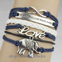 """Silver elephant bracelet,infinity ,love,""""where there's a will there's a way""""charm,white Braided Leather navy rope,best gift for friends."""