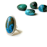 Sky Blue Silver Ring, Chrysocolla Chalcedony Ring, Gem Silica Ring, Statement, Handcrafted, Size 7