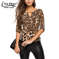 Half Sleeve Women Shirt Elia Cher Plus Size Casual Women Clothing Lady Leopard Print