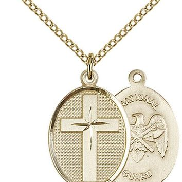 14K Gold Filled Cross National Guard Military Soldier Catholic Medal Necklace 617759889611
