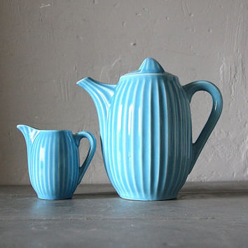 French Retro Coffee Pot and Jug Turquoise