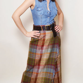 Wool Maxi Skirt, Plaid High Waisted, Long Mulberry Skirt, Boho, Bohemian, Festival skirt, Size M/38 Gift idea for woman, Six Vintage Chicks