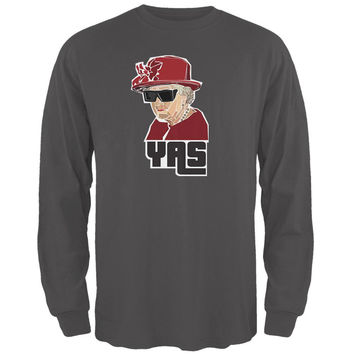 YAS Queen Charcoal Grey Adult Long Sleeve T-Shirt