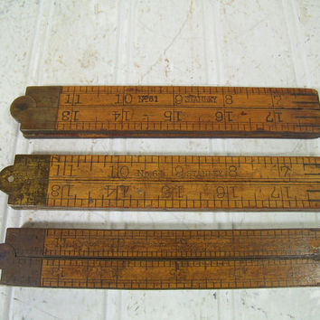 Antique Collection of 3 Wooden Folding Rulers 24 Inches Long with Brass Trim & Hinges - Vintage Stanley 61 / C and S 62 Wood Measuring Tools