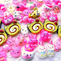 WHOLESALE 50 Cute Resin Cabochons MIX Hello Kitty by DecoSweets